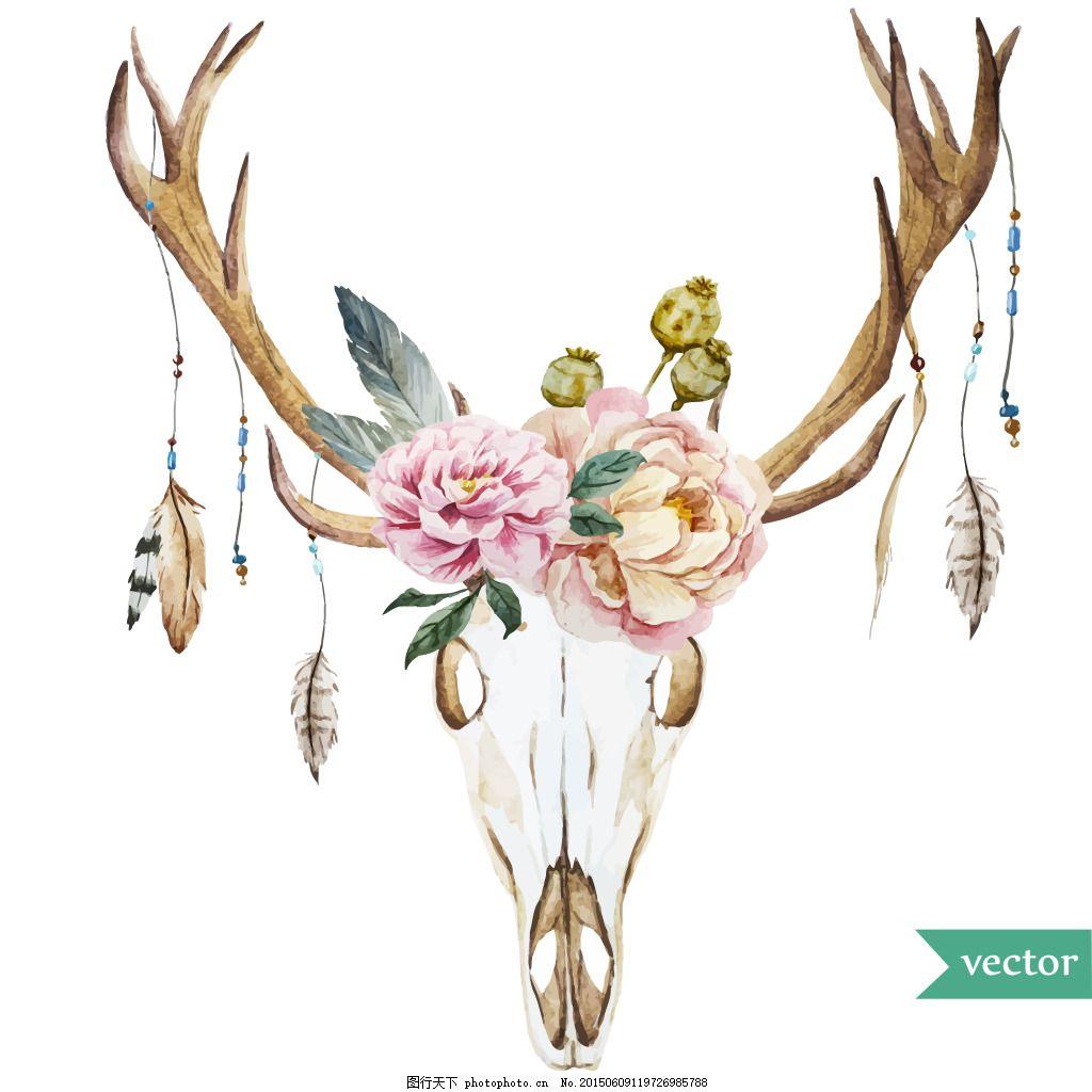 鹿头三维立体彩色手绘