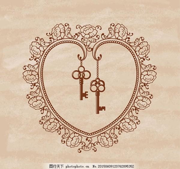 手绘花纹爱心和钥匙 花卉 爱心 花纹 钥匙 褶皱 纸张 情人节 矢量图 a