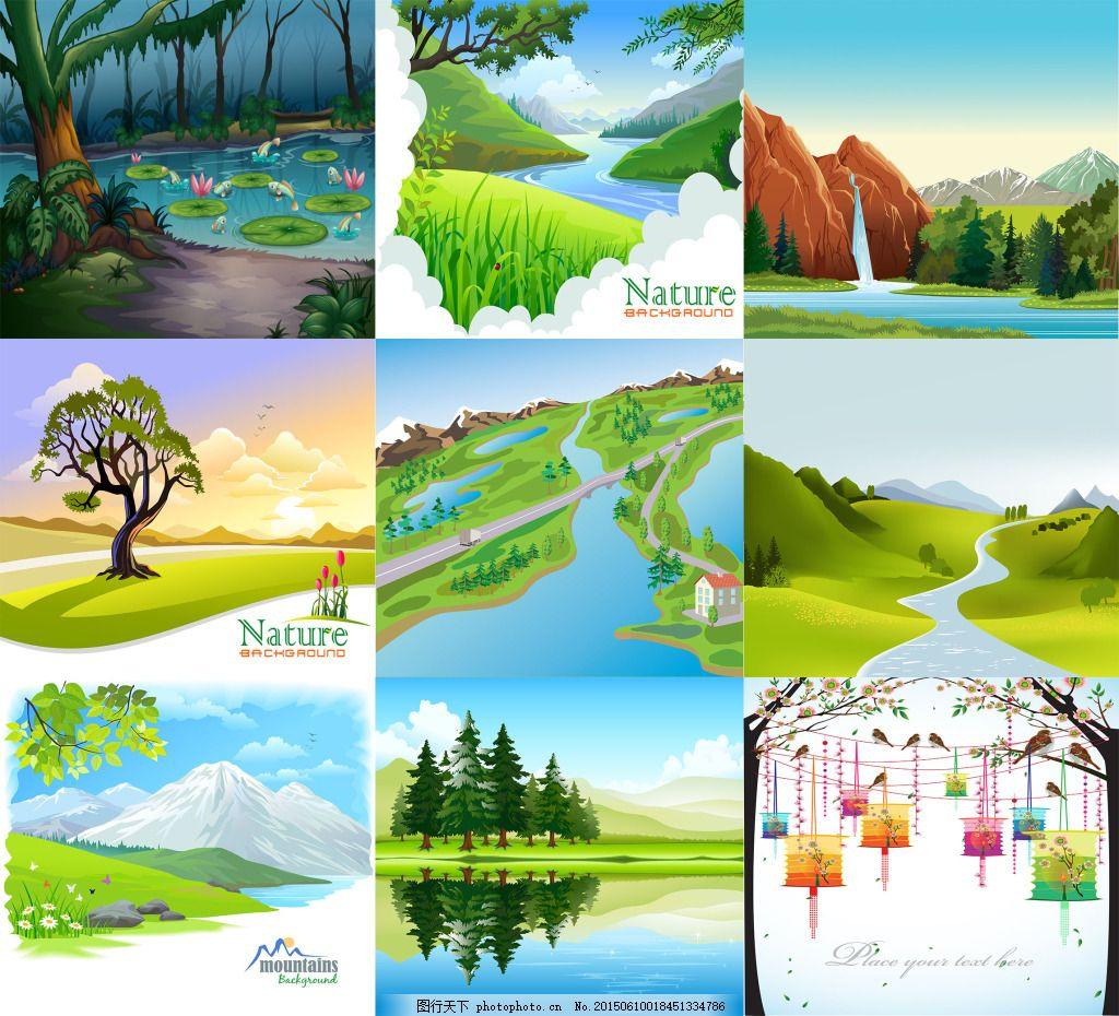 9幅春色风景图 池塘 春天 小河 雪山 灯笼 樱花 河流 瀑布