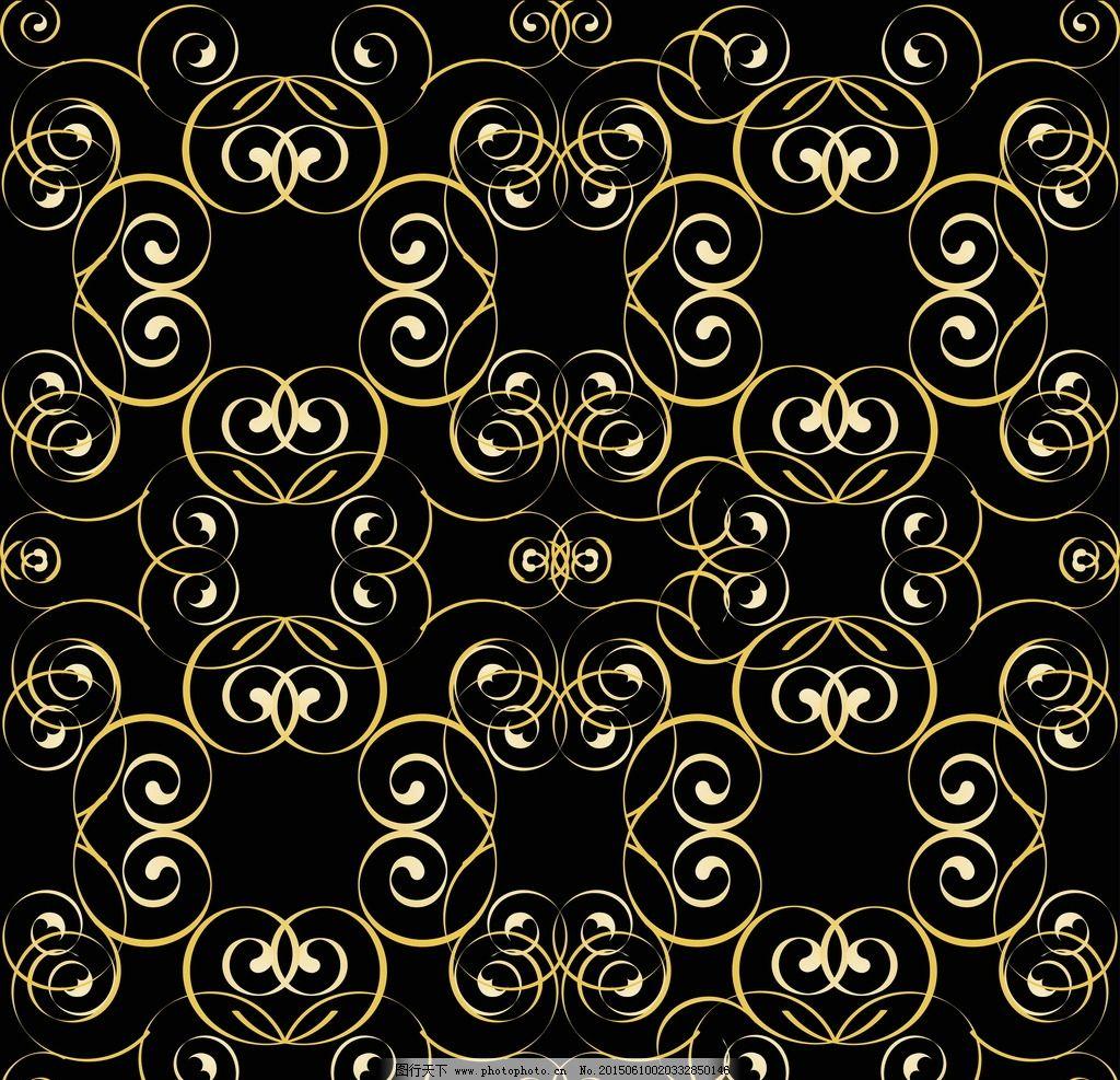 欧式黑色带金色花纹壁纸