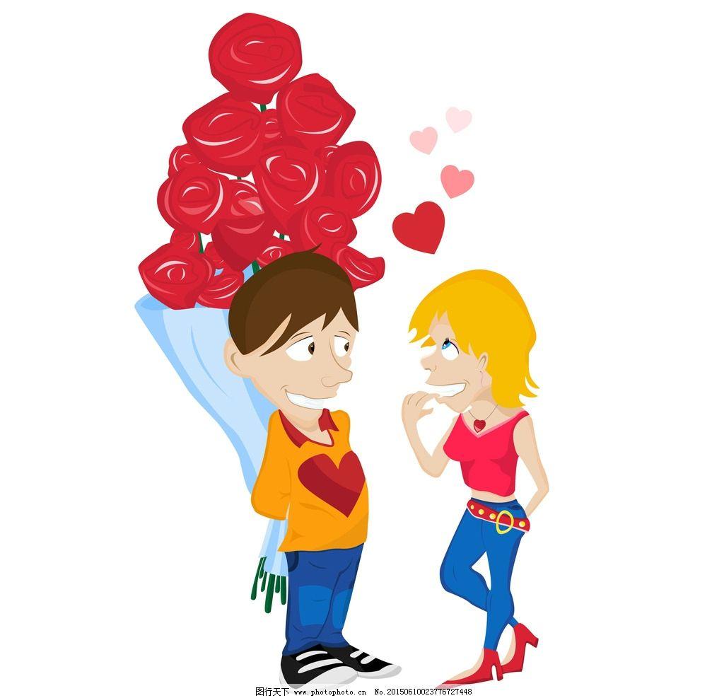 时尚美女 手绘少女 女孩 女人 示爱 求婚 情人节 玫瑰花 少女 时髦