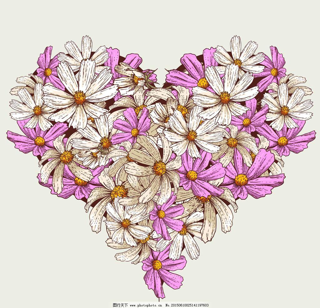 手绘花卉 花朵 鲜花 菊花 心形 爱心 花卉插图 插图 壁纸图案 手绘 设