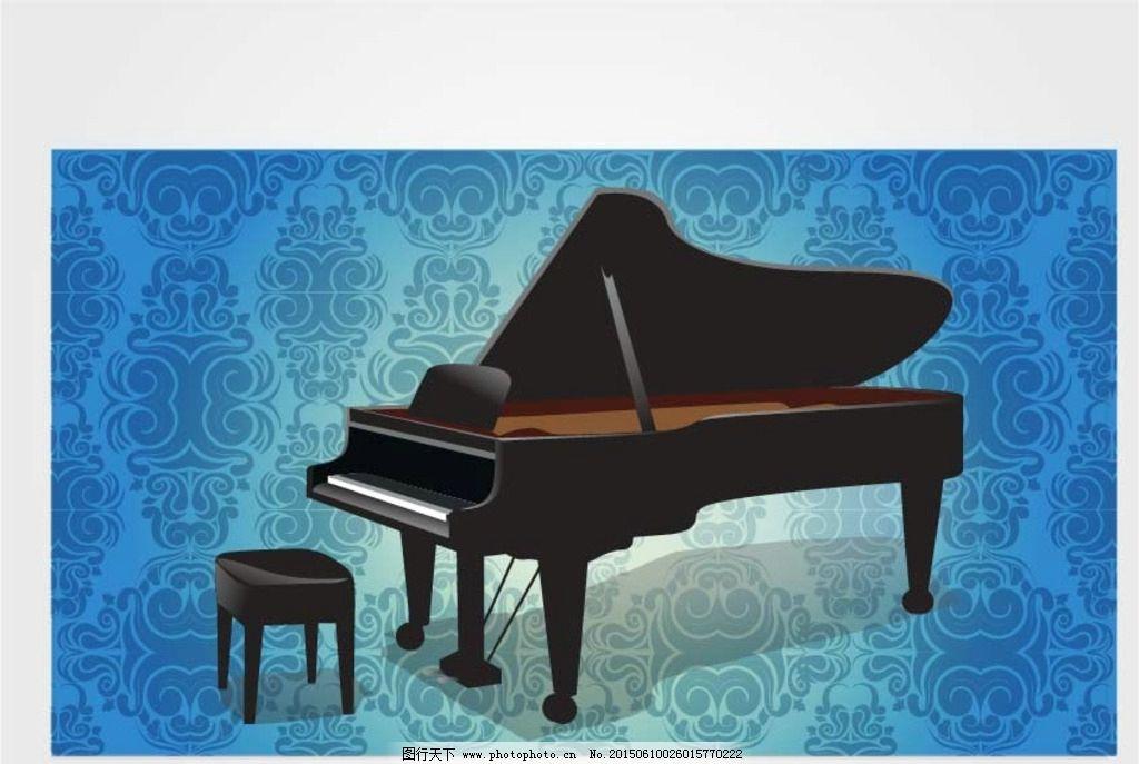 黑色钢琴 矢量钢琴 钢琴 欧式花纹 花纹 平面设计素材 设计 生活百科
