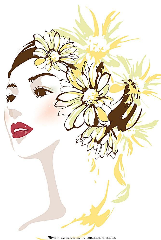 美少女 图片下载 美少女花纹 手绘花纹 精美花纹 花纹贴图 菊花 中国