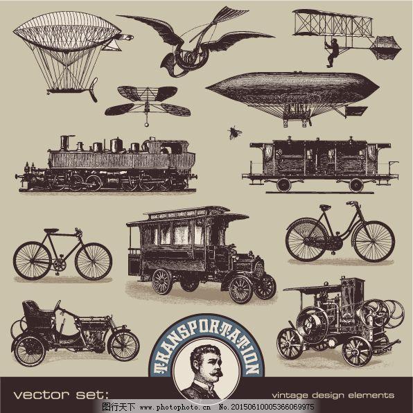 复古背景 复古手绘 复古素材 自行车 复古手绘 复古素材 车子素材