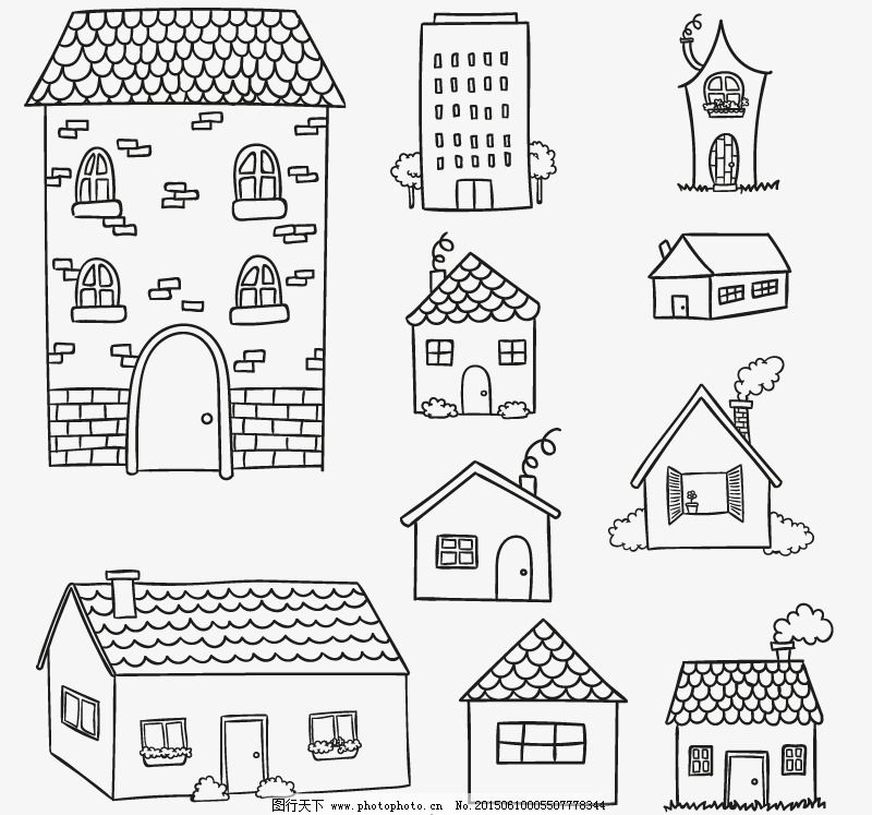 手绘房屋设计矢量素材