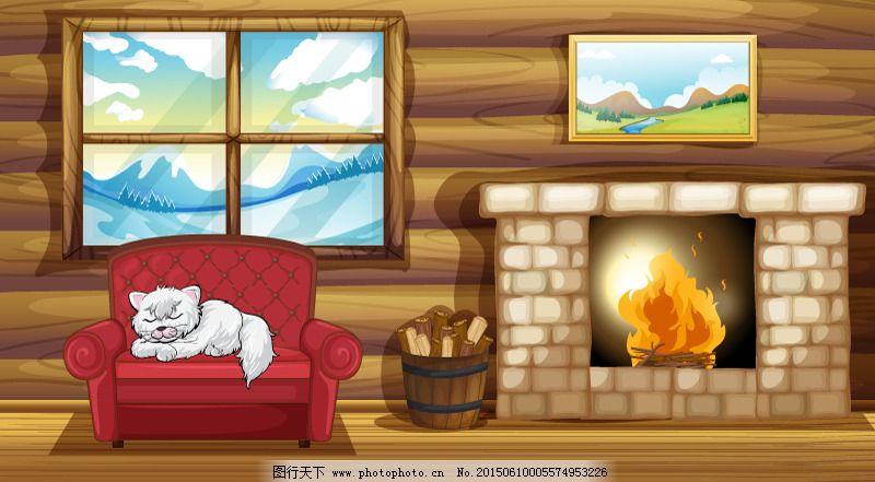 卡通冬季温暖木屋矢量素材免费下载
