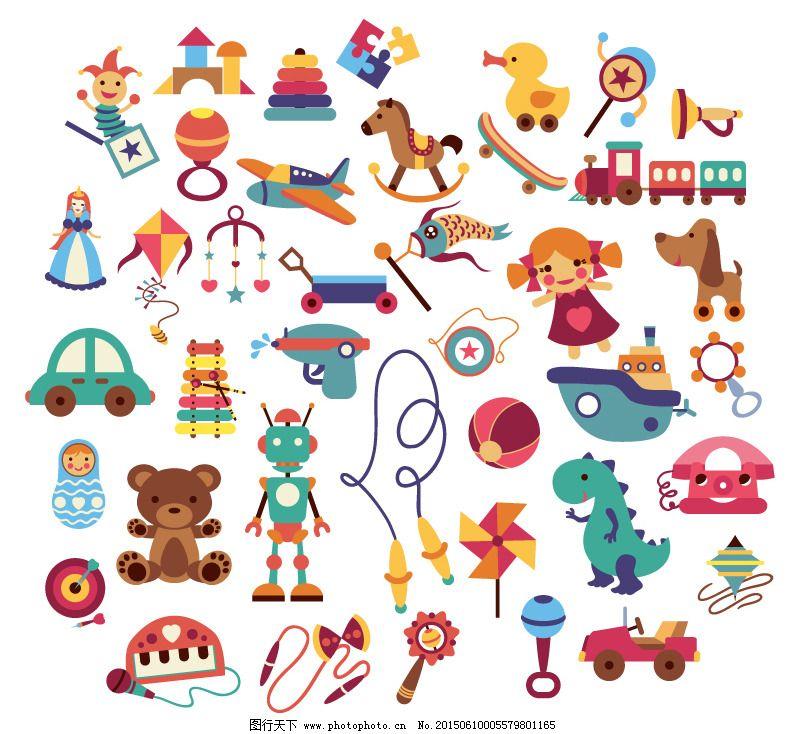卡通玩具设计矢量素材免费下载 积木 玩具 小丑 玩具 小丑 积木 矢量
