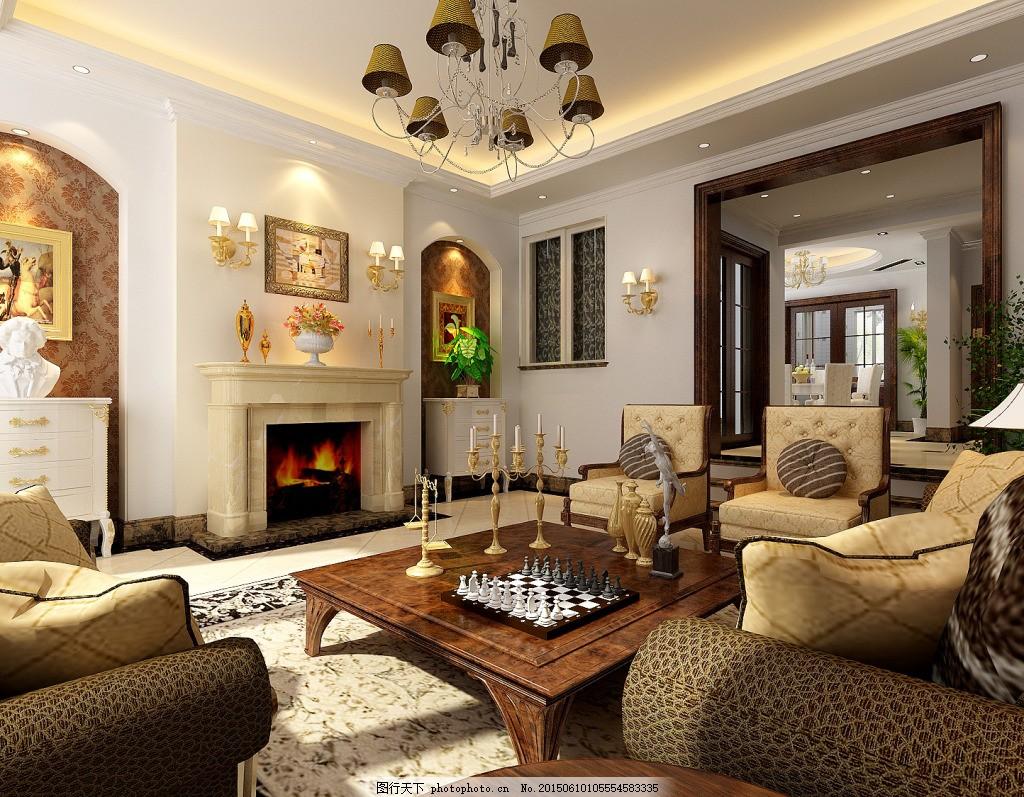 别墅客厅模型 欧式别墅客厅模型免费下载 壁炉 客厅装饰 沙发茶几