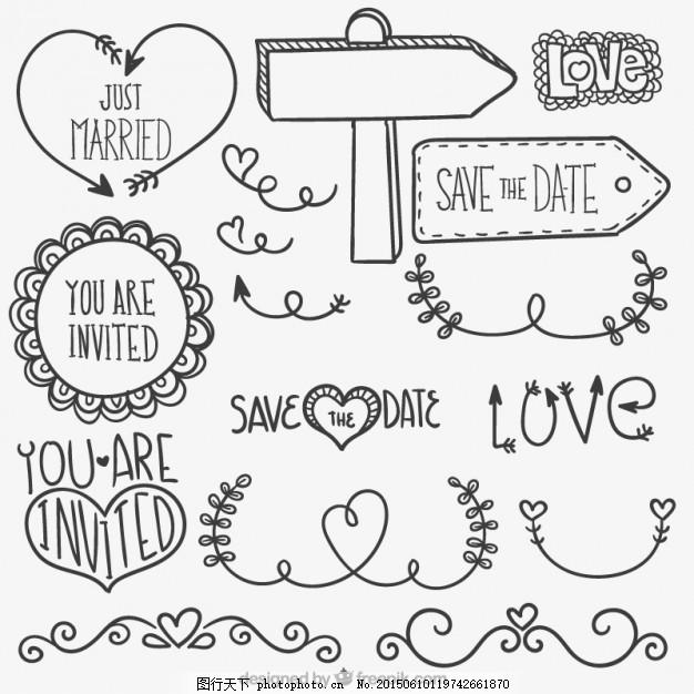 手绘婚纱 婚礼 爱情 徽章 手画 装饰 保存日期 结婚 浪漫 约会