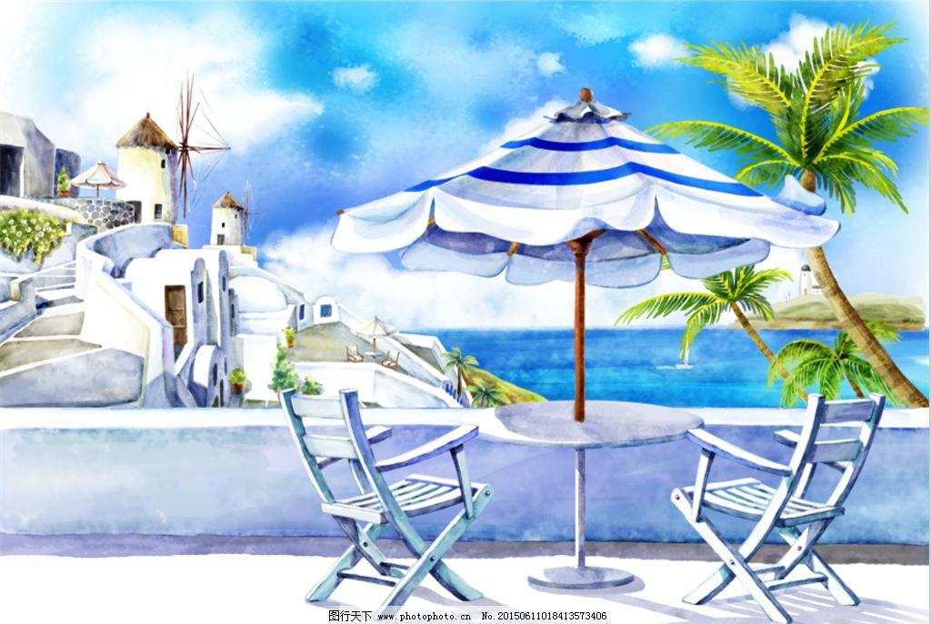 大海 海滩 手绘