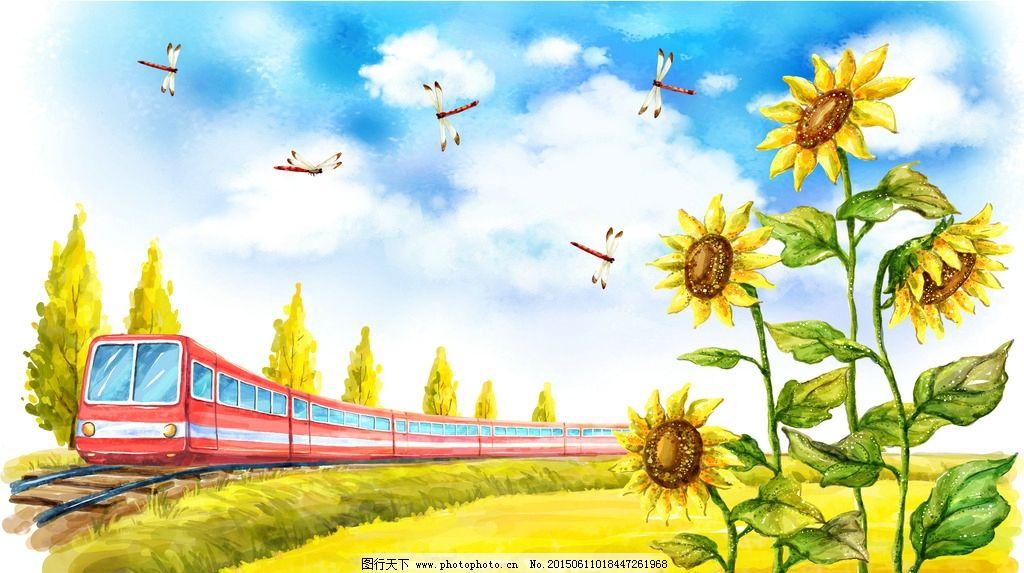 火车手绘插画图片