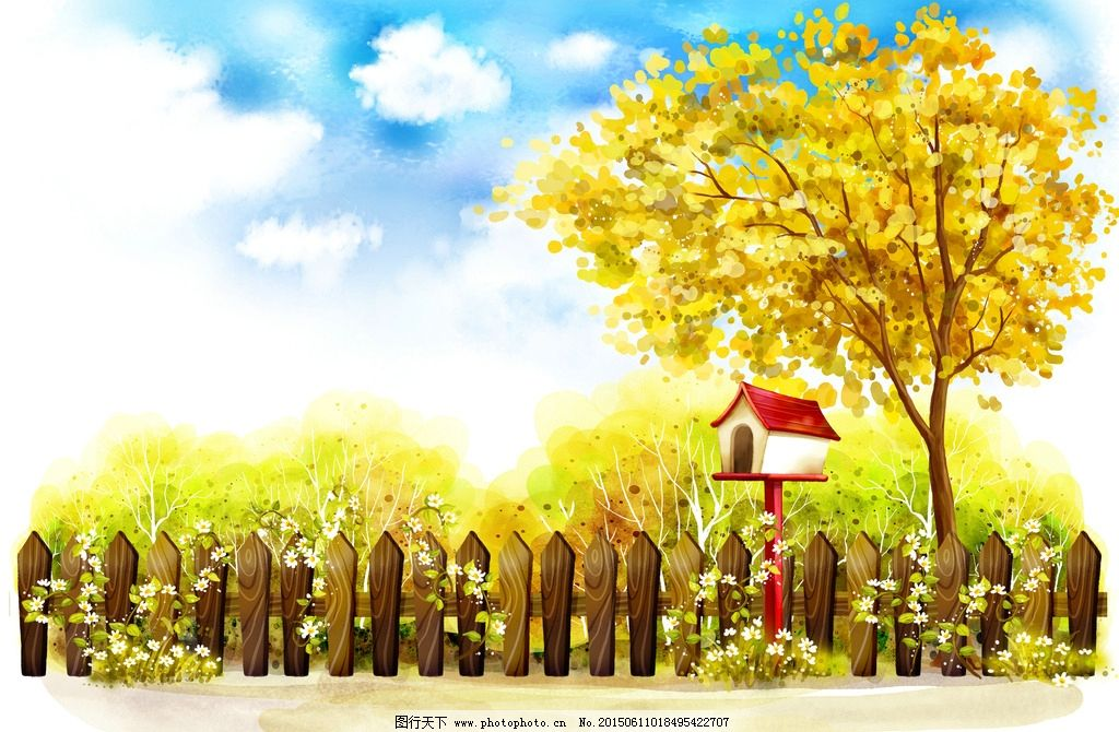 秋日风景郊外风景手绘插画图片