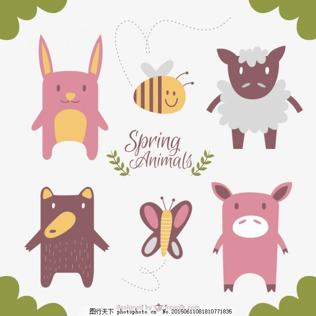 可爱和有趣的动物 设计 蝴蝶 自然 动物 春天 农场 绵羊 扁 可爱 蜜蜂