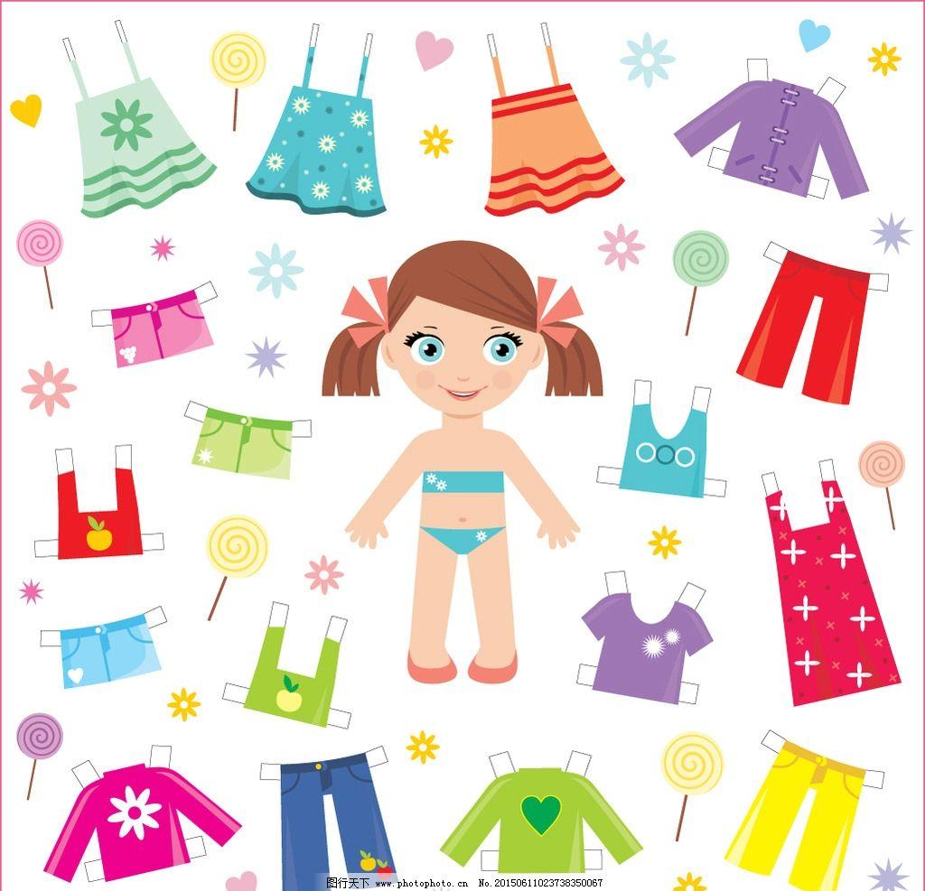 儿童服装 卡通人物 小女孩 内衣 裤子 服装设计 衣服 简笔画 动漫角色