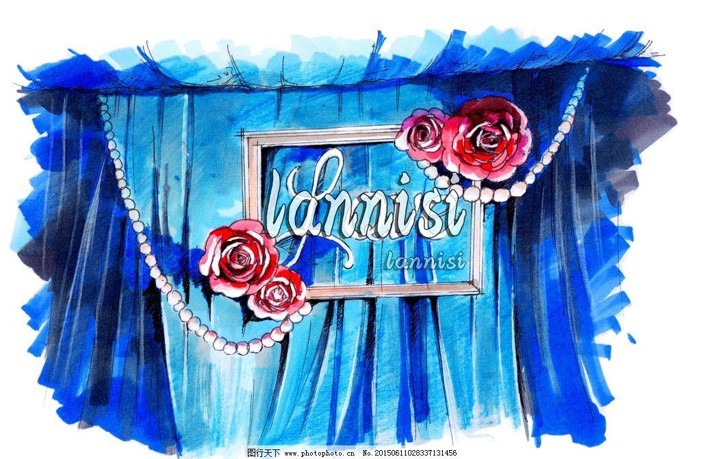 婚礼仪式舞台背景设计手绘表现图片