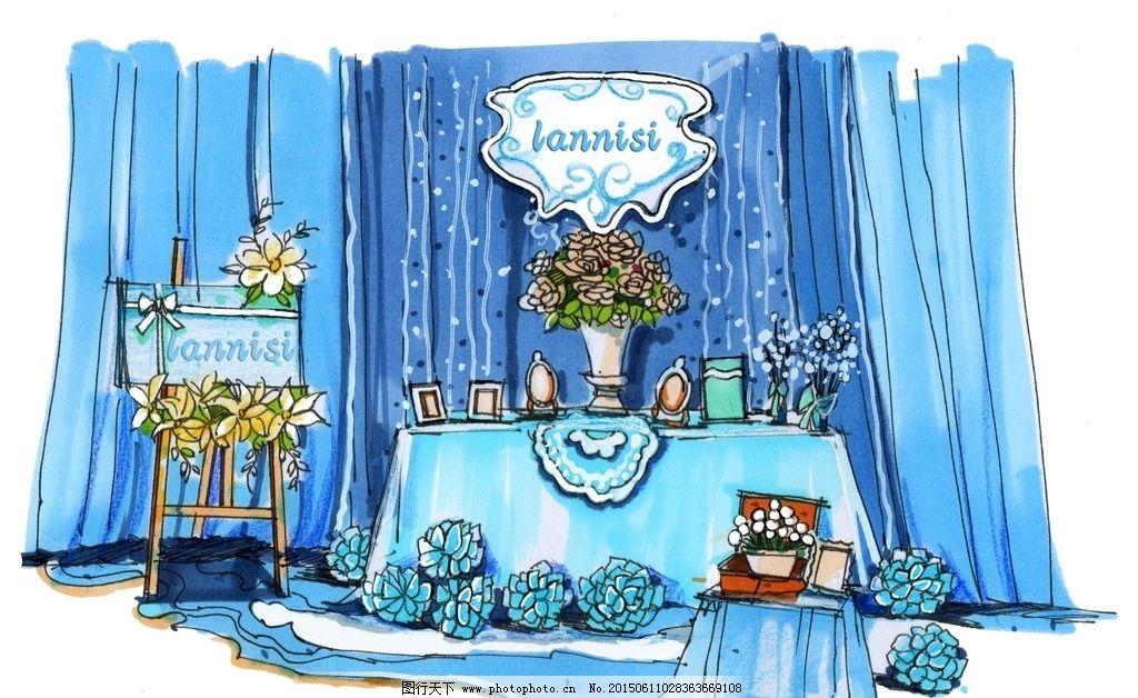 蓝色系婚礼照片展示区手绘图片