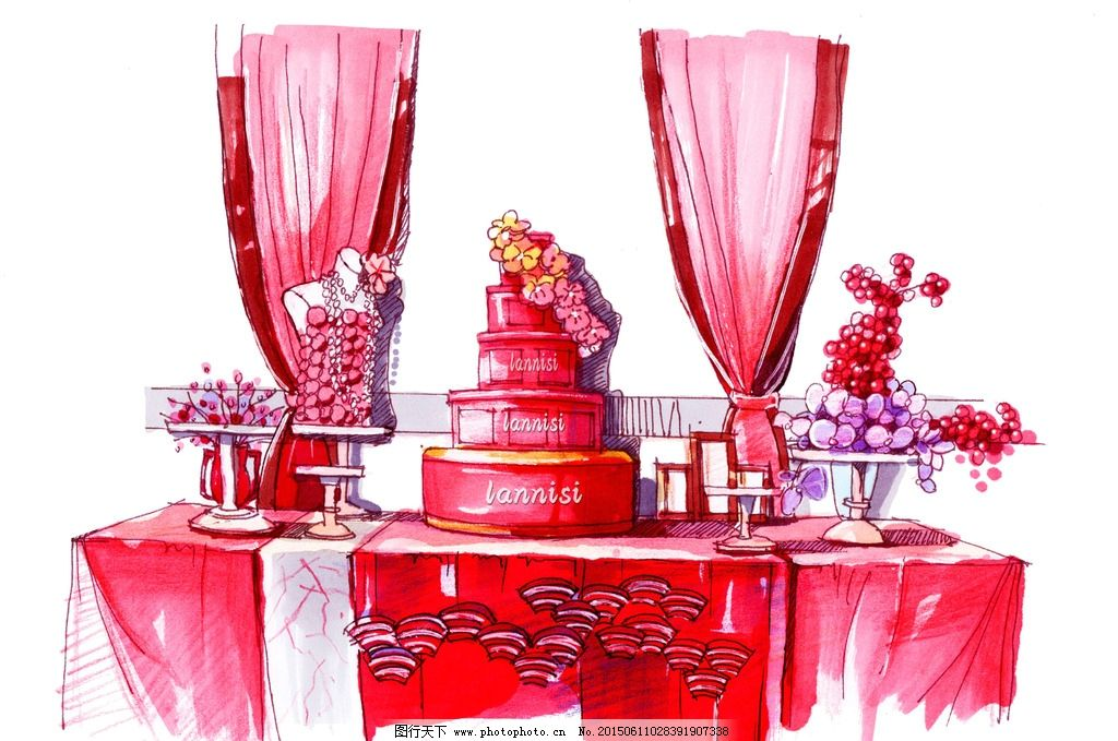 婚礼照片展示区手绘效果图片