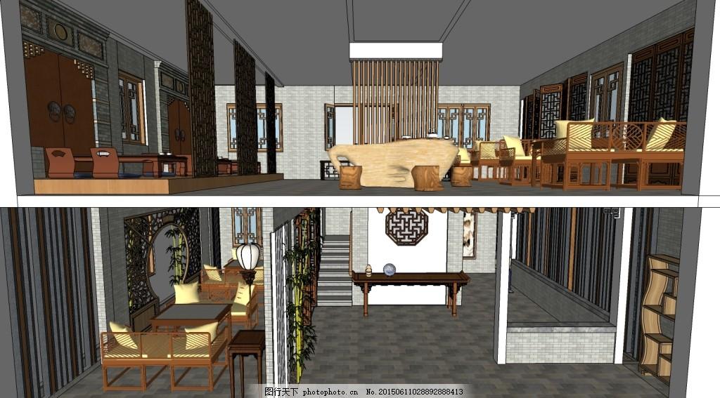 茶楼茶馆室内su模型