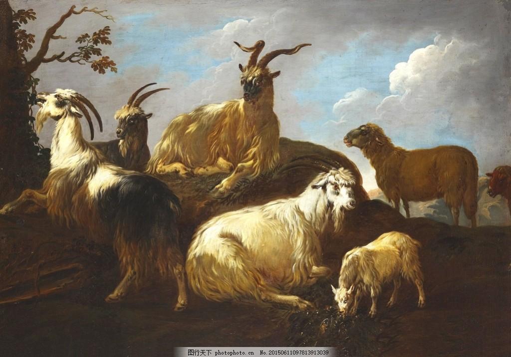 油画 动物 羊 绵羊 图片素材 客厅装饰画 蔬菜 水果 漂亮的油画