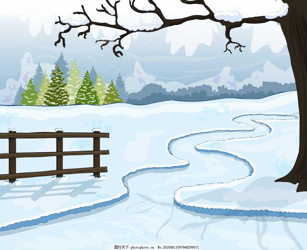 卡通背景墙 冬季 雪地 白色图片