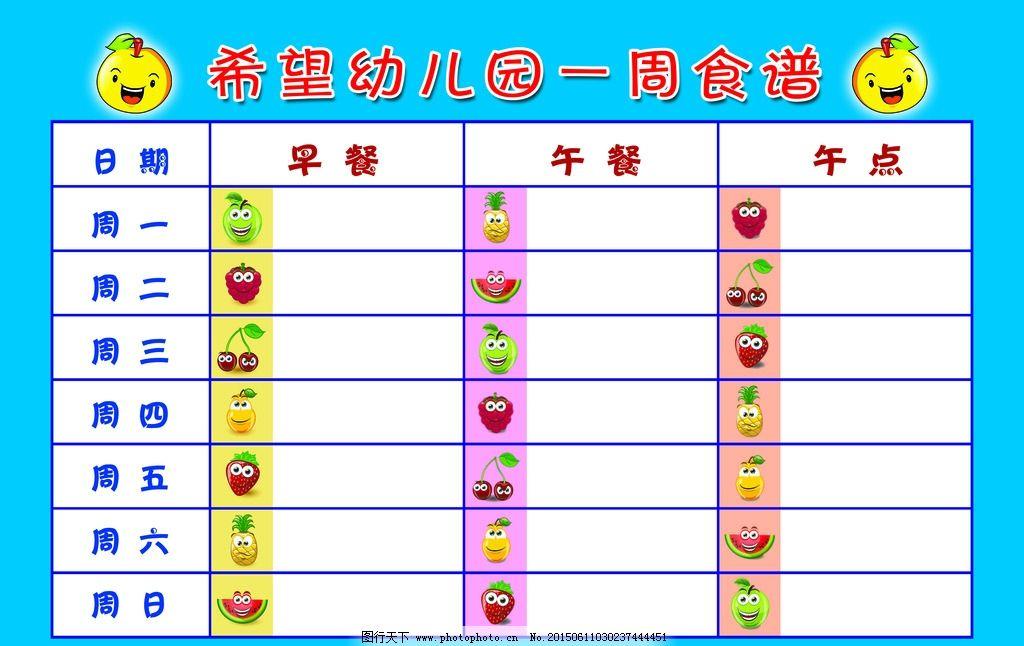 幼儿园一周 一周食谱 幼儿园 食谱 卡通 饭卡 设计 广告设计 展板模板