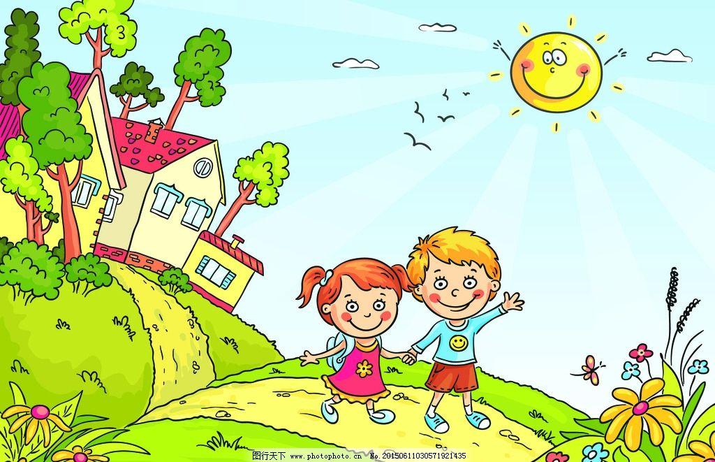 卡通背景 卡通森林 可爱背景 卡通动物形象 卡通树 卡通形象 幼儿园