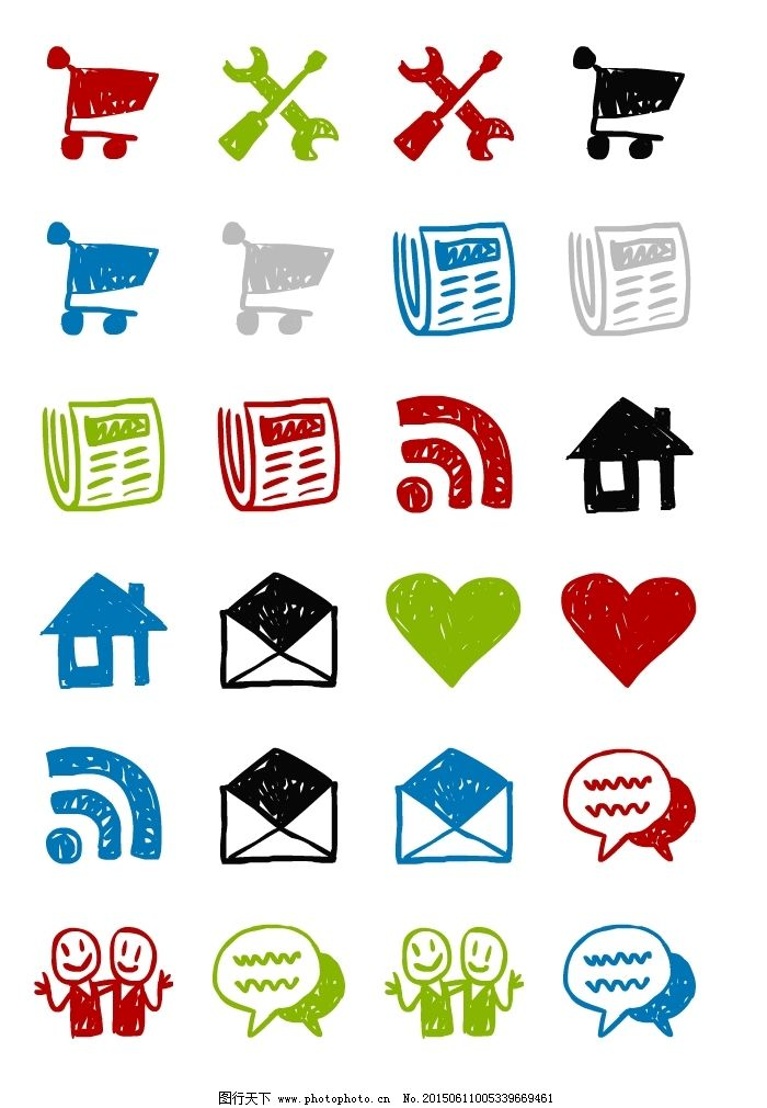 矢量图 广告设计  手绘卡通电脑图标下载免费下载 爱心 对话 房屋