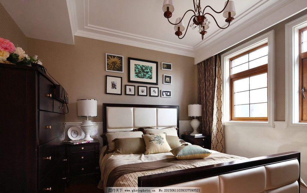 主卧 大床 画 画框 欧式样板房