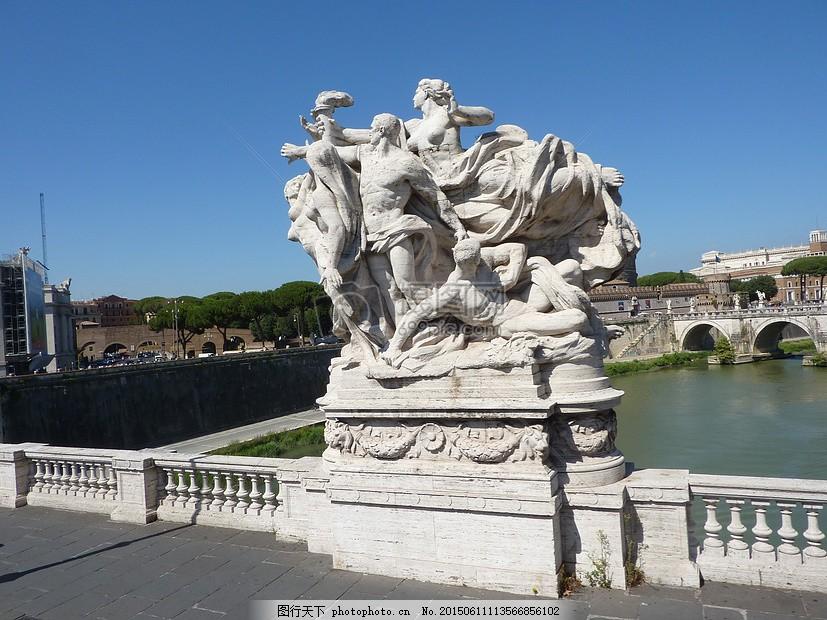 雕塑家 桥 罗马 台伯河 里程碑 纪念碑 意大利 红色