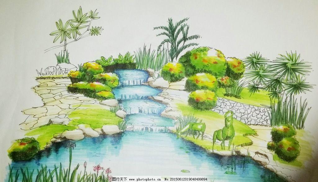 马克笔 钢笔风景画