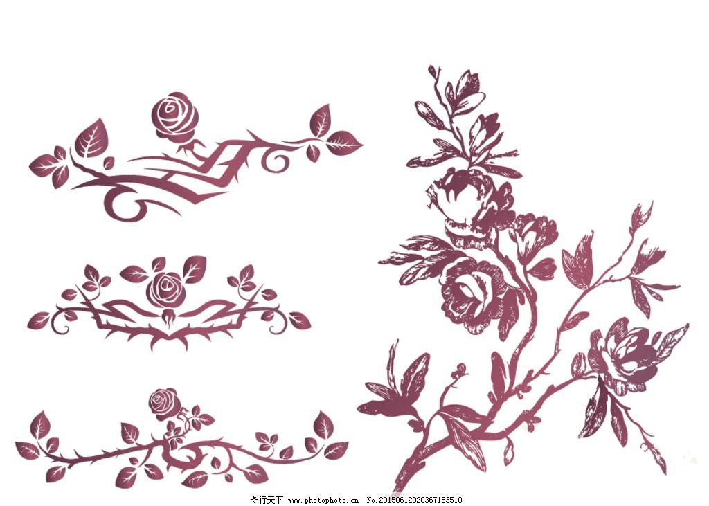 玫瑰花纹 玫瑰花 线条 玫瑰花卉 欧式古典花纹 欧式复古花纹 手绘玫瑰