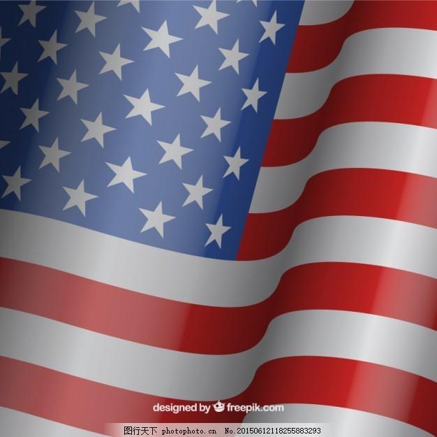 挥舞美国国旗背景 背景 明星 旗帜 蓝色背景 蓝色 红色 庆典 美国