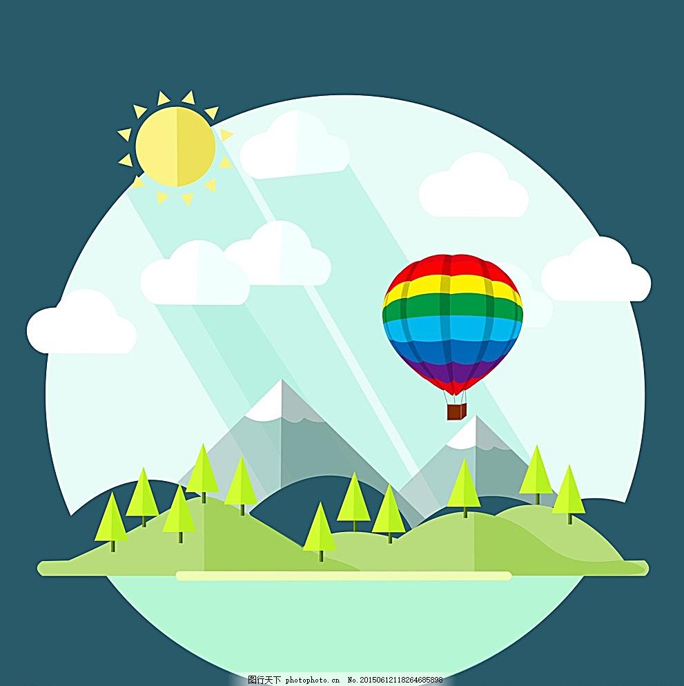 卡通背景 小清新背景 山水 热气球背景 背景 设计 动漫动画 风景漫画
