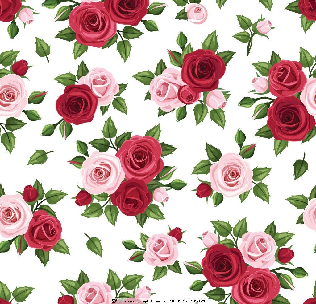 手绘花卉图片,花朵 鲜花 红花 绿叶 无缝模式 玫瑰花