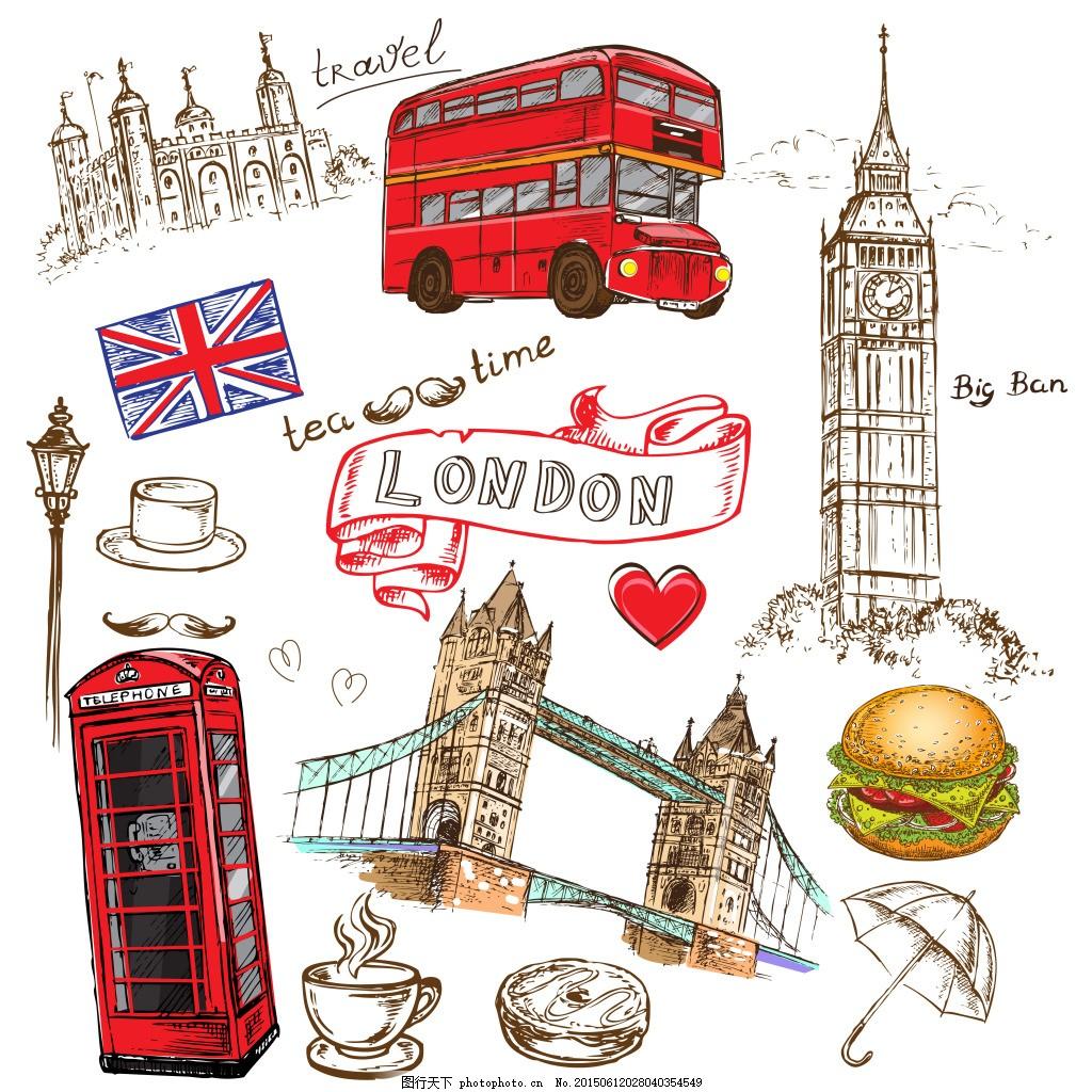 英国元素主题 手绘 电话亭 双层公交 建筑 伦敦大桥 白色