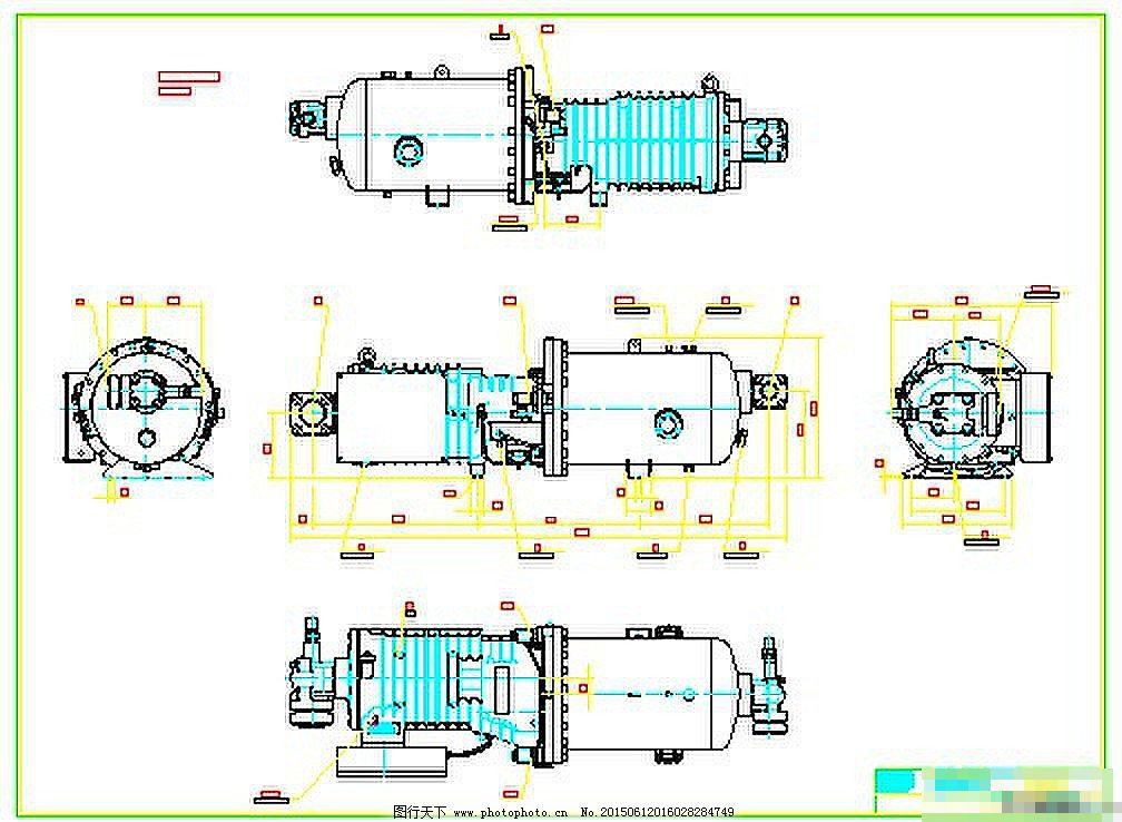 草图压缩机的CAD螺杆显示大师图纸cad不导入图片