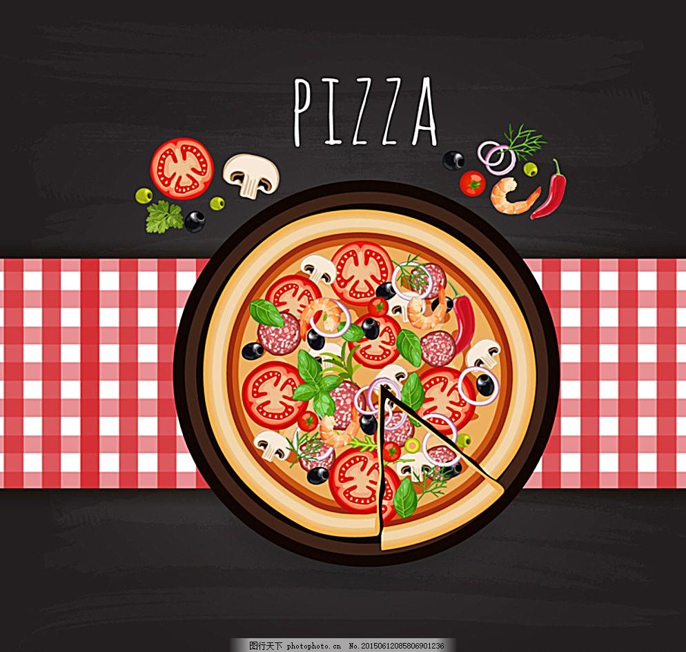 意大利披萨 海鲜 食物 餐桌 西红柿 蘑菇 快餐食品 桌布 广告设计
