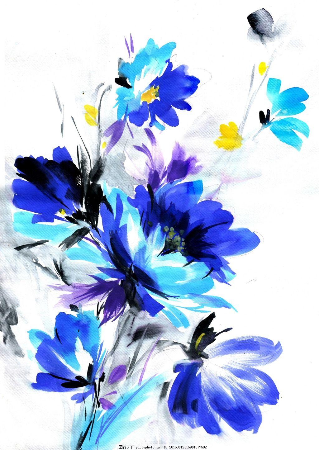 水彩画 花卉 手绘花 水墨画 装饰花 兰     白色 jpg