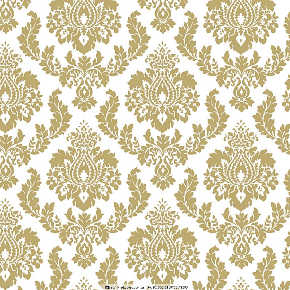 欧式团花图片,大马士革 墙纸 花型 白色-图行天下图库
