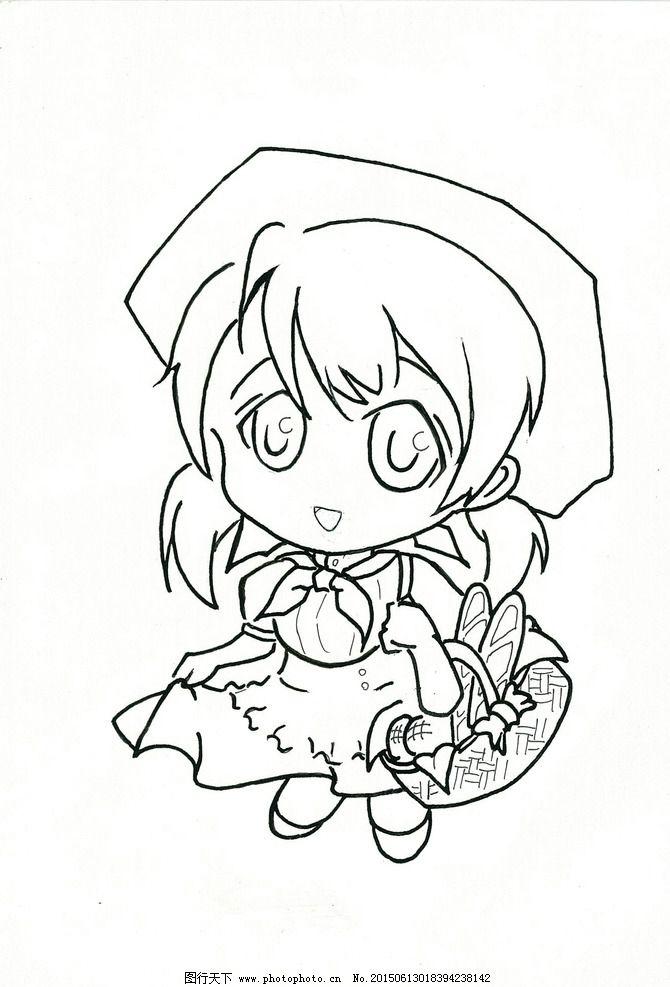 面包女孩 q版 人物 线条 黑白 设计 动漫动画 动漫人物 200dpi jpg