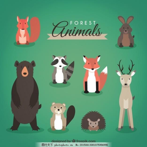 森林动物头上的包 手 自然 手画 可爱 熊鹿兔 松鼠 可爱的动物