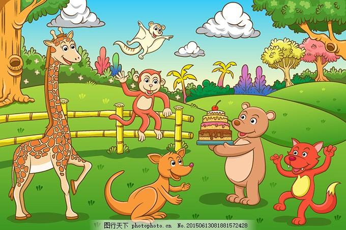 卡通动物 长颈鹿 熊 狐狸 ai 绿色 ai