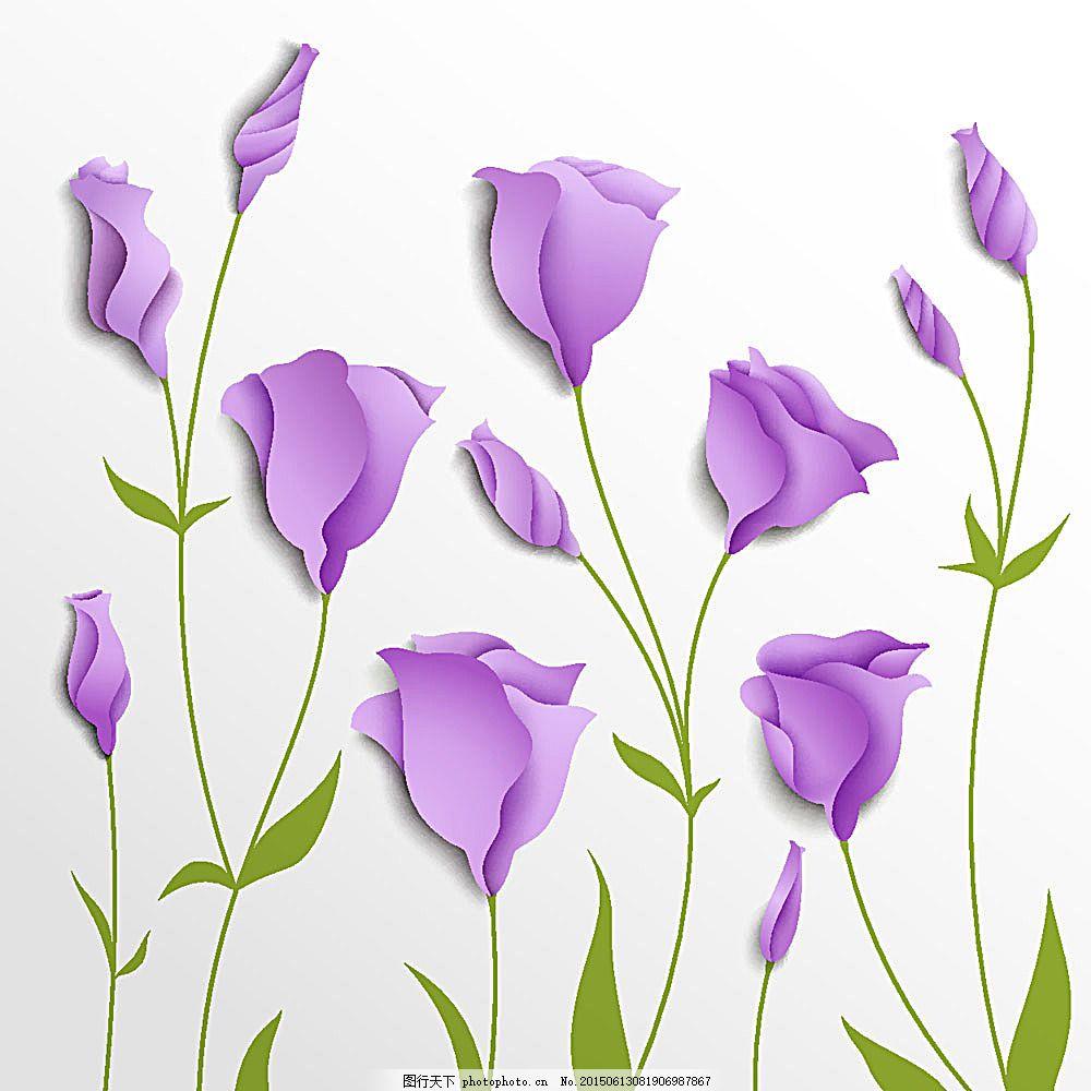 手绘绿叶与紫色花