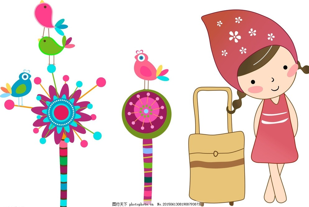 手绘花朵 小鸟 女孩图片
