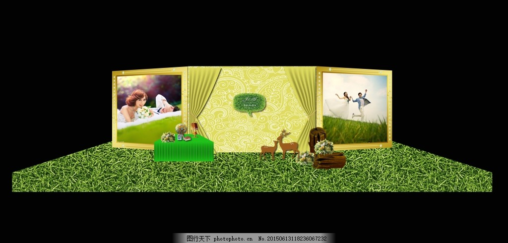 欧式背景 舞台设计 草坪婚礼背景 森林系背景 主题婚礼 场景布置 森系