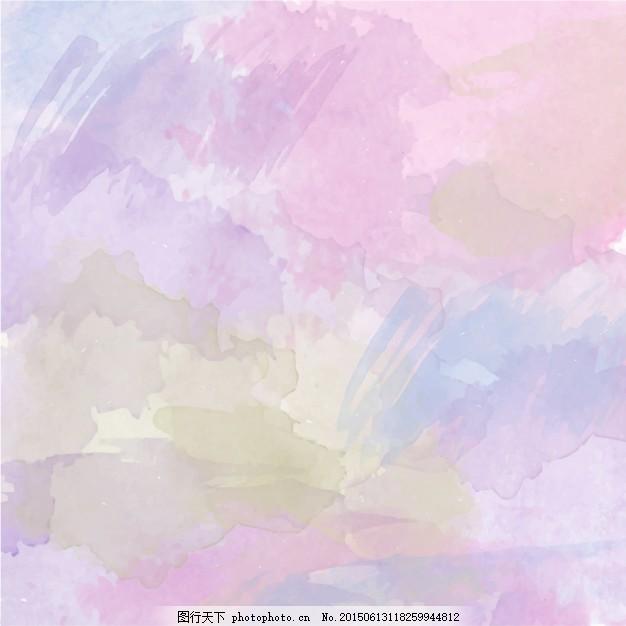 抽象水彩背景 抽象水彩画 绿色 粉红色 黄色的水花 油漆 染色