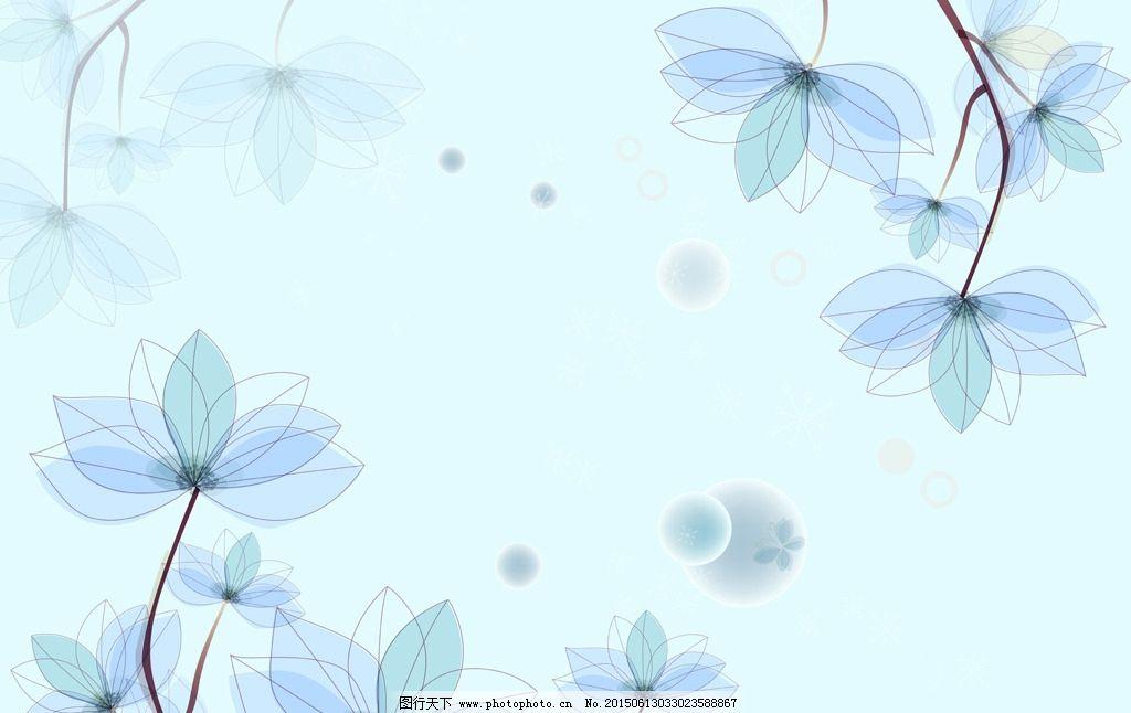 手绘梦幻花卉背景墙图片