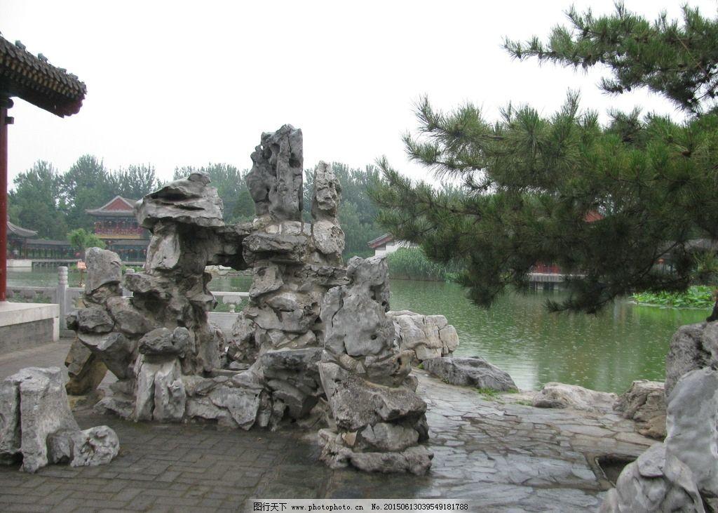 园林景观 装饰画 绿化景观 树木 湖水 松树 景观山石 摄影 建筑园林