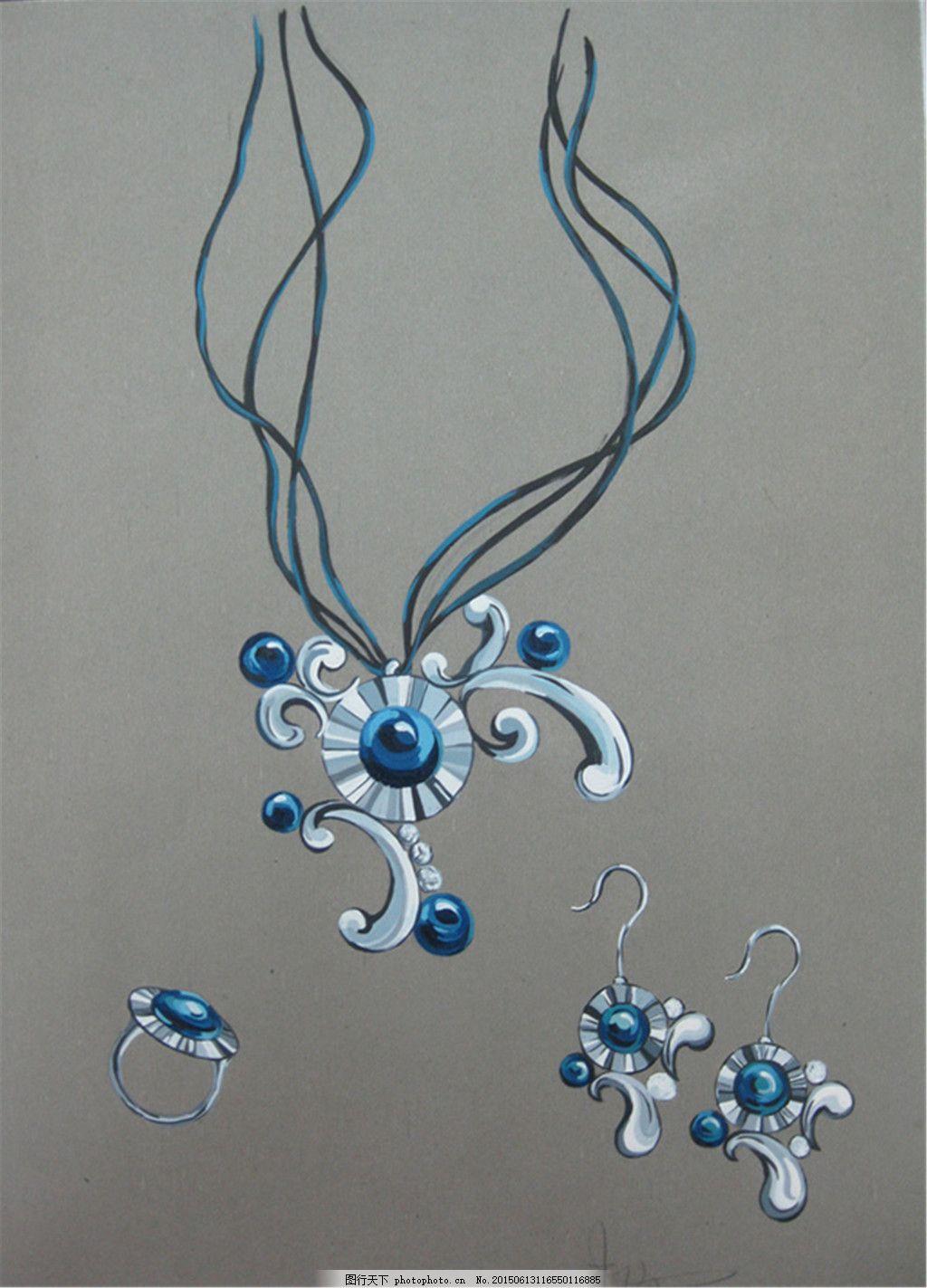 手绘珠宝项链图片设计